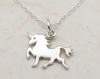 Unicorn Necklace Sterling Silver Dainty Horned Horse Charm Pendant Cable Chain Fantasy Mythology
