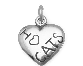 I Love Cats Heart Charm 925 Sterling Silver Pendant Heart Kitty Cat Pet Animal