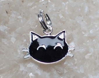 Cat Charm Sterling Silver Black Enamel Pendant Pet Whiskers