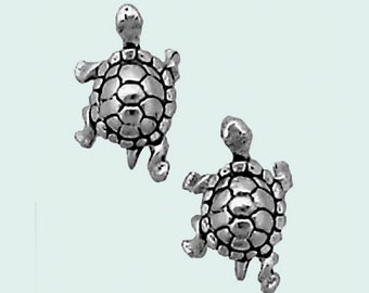 Turtle Earrings Sterling Silver Posts Studs Tiny Mini Tortoise Animal