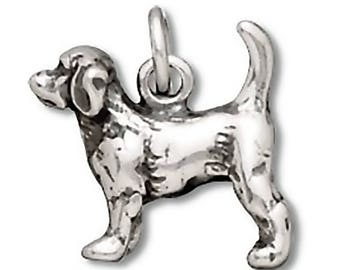 Beagle Dog Charm Sterling Silver Pendant Animal 3D Pet