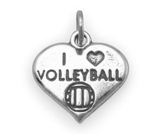 I Love Volleyball Charm 925 Sterling Silver Pendant Heart Beach Sport