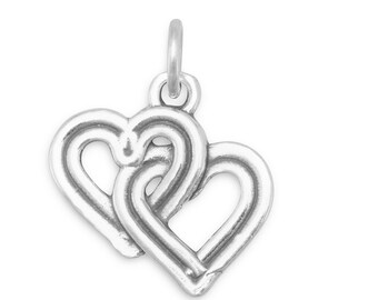 Reversible Double Heart Charm Sterling Silver Entwined Hearts Pendant Love