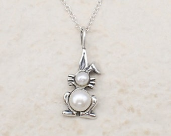 Bunny Rabbit Necklace Sterling Silver Cultured Freshwater Pearls Easter Pendant