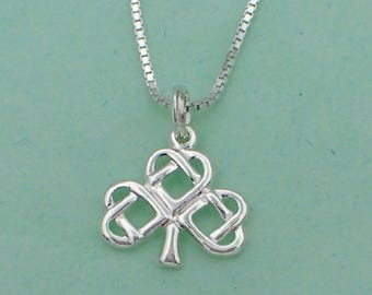 Celtic Shamrock Pendant Necklace Sterling Silver Clover Charm Box Chain