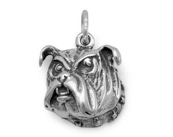 Bulldog Charm 925 Sterling Silver Pendant Dog Face Spiked Collar Pet Animal