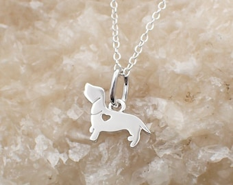 Dachshund Dog Necklace Sterling Silver Cut Out Heart Charm Dog Lover's Pendant Doxie