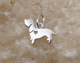Rhodium Plated Sterling Silver Heart Dachshund Dog Charm Pendant Animal Pet Doxie