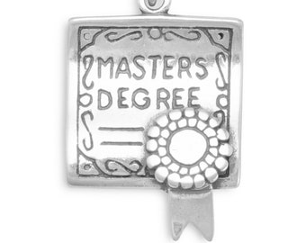 Master's Degree Diploma Charm Sterling Silver Pendant Graduation School College