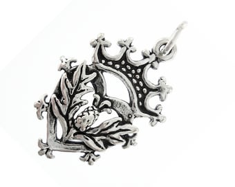 Sterling Silver Thistle Charm Pendant Scottish Scotland Luckenbooth