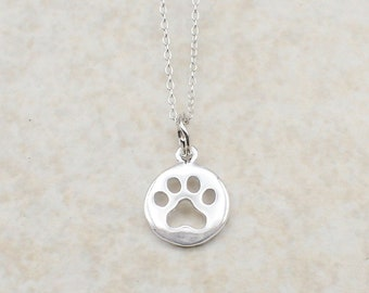 Paw Print Necklace Sterling Silver Small Round Pawprint Charm Pendant Cable Chain