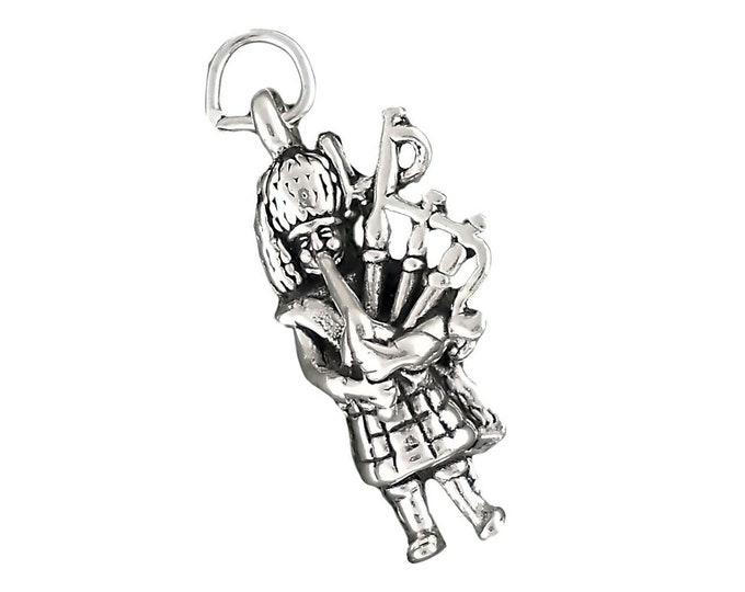 Featured listing image: Piper Bagpiper Charm Sterling Silver 3d Celtic Music Pendant