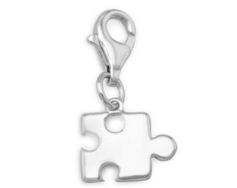 Puzzle Piece Charm Rhodium Plated 925 Sterling Silver Lobster Claw Clasp