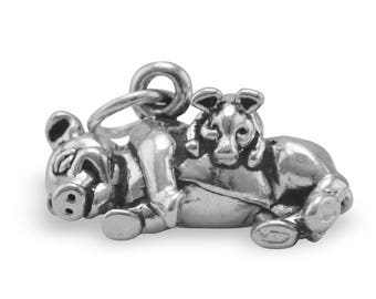 Piglet with Mama Pig Charm 925 Sterling Silver Pendant 3d Pet Farm Animal Hog
