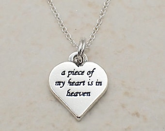 A Piece of My Heart is in Heaven Necklace Sterling Silver Heart Charm Pendant Cable Chain Love Mourning