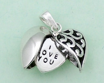 I Love You Heart Charm Sterling Silver Secret Message  Pendant