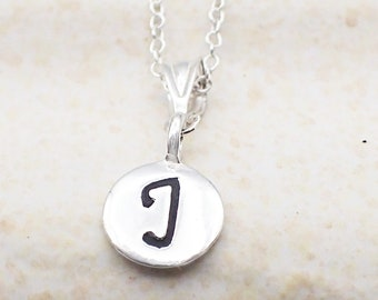 Initial Necklace Sterling Silver Dainty Letter Charm Pendant Cable Chain A-Z Alphabet Monogram Name