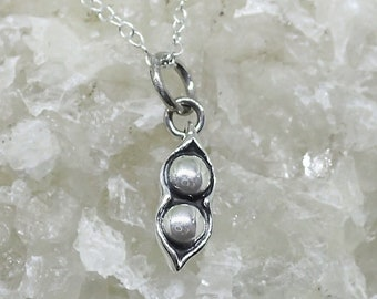2 Peas in a Pod Necklace Sterling Silver Peapod Pendant Cable Chain