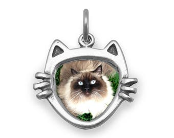 Cat Face Picture Frame Charm 925 Sterling Silver Pendant Photo Holder