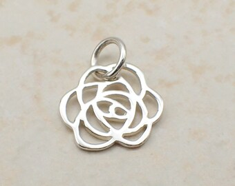 Filigree Rose Charm Sterling Silver Dainty Floral Flower Pendant