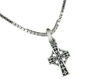 Sterling Silver Celtic Cross Pendant Small Necklace With Box Chain