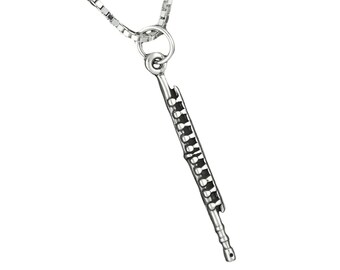 Sterling Silver Flute Pendant Necklace Musical Instrument Charm With Box Chain