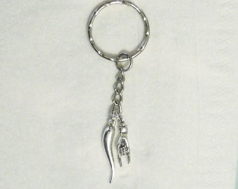 Italian Horn & Italian Hand KEYCHAIN Sterling Silver Charms with Antique Silver Tone Finish Key Holder Purse Accessory