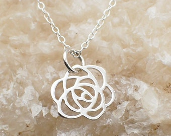 Filigree Rose Necklace Sterling Silver Dainty Flower Charm Floral Pendant Cable Chain