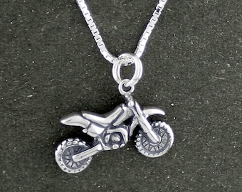 Dirt Bike Necklace Sterling Silver Motocross Motorcycle Charm Box Chain