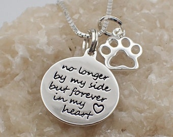 Forever in My Heart Paw Print Necklace Sterling Silver Heart Charm Pawprint Pendant Animal  Pet Mourning