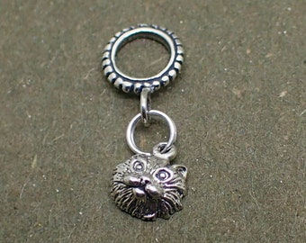 Dangle Cat Face Charm Bead Sterling Silver Pendant Kitty Kittie