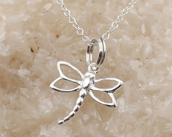 Filigree Dragonfly Necklace Sterling Silver Dainty Insect Charm Pendant Cable Chain Bug Garden