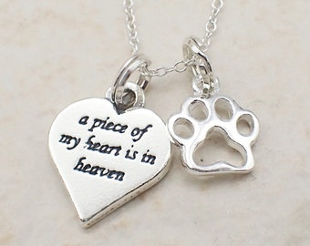 A Piece of My Heart is in Heaven Paw Print Necklace Sterling Silver Heart Charm Pendant Cable Chain Love Pet Mourning
