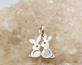Kissing Bunnies Necklace Sterling Silver Bunny Rabbit Charm Pendant Cable Chain Pet Easter