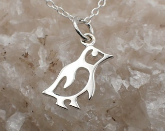 Cutout Penguin Necklace Sterling Silver Dainty Bird Charm Penguin Pendant Cable Chain