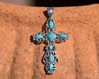 Ornate Scroll Cross Pendant 925 Sterling Silver Reconstituted Turquoise Stones