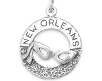 New Orleans Charm 925 Sterling Silver Pendant Mardi Gras Mask