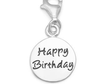 Happy Birthday Charm Sterling Silver Pendant with Lobster Claw Clasp