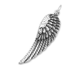 Sterling Silver Angel Wings Charm Pendant religious feather bird