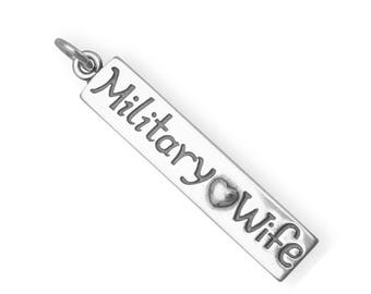 Sterling Silver Military Wife Charm Pendant Words Heart Military Soldier