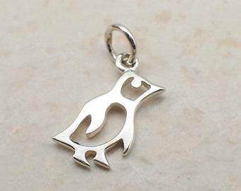 Cutout Penguin Charm Sterling Silver Dainty Bird Pendant