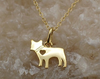 French Bulldog Necklace Gold Plated Sterling Silver Cut Out Heart Charm Dog Lover's Pendant