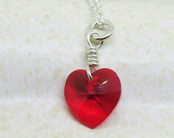 Swarovski Crystal Heart Necklace Sterling Silver Love Heart Charm Pendant Cable Chain
