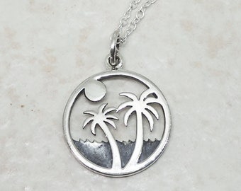 Layered Beach Palm Tree Necklace Sterling Silver Ocean Charm Pendant Cable Chain
