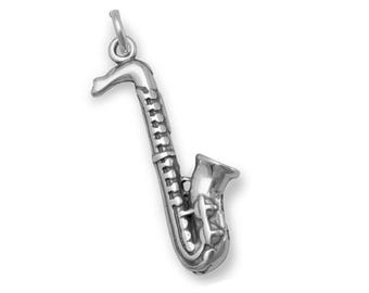 Saxophone Charm 925 Sterling Silver Pendant Musical Instrument Music Musician
