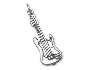 Electric Guitar Charm 925 Sterling Silver Pendant 3d Musical Instrument Music