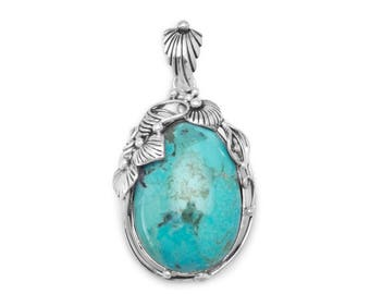 Vine and Leaf Pendant 925 Sterling Silver Reconstituted Turquoise Stone