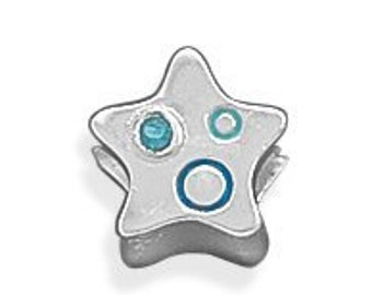 Star Charm Bead Sterling Silver with Blue Crystal and Epoxy Accents Celestial Space