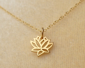 Dainty Lotus Flower Necklace Gold Plated Sterling Silver Lotus Charm Pendant Cable Chain