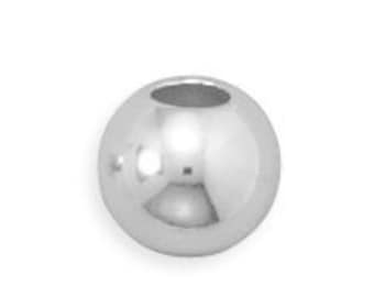 8mm Round Bead 925 Sterling Silver Polished Finish 4mm hole